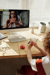 A Kid Taking Online Tutoring Class